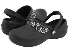 Women's CROCS MERCY WORKS Black Slip Resistant Safety Mules Work Clogs Shoes NEW