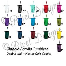 Classic Acrylic Tumbler Double Wall w Lid and Straw 16 Oz Personalized!