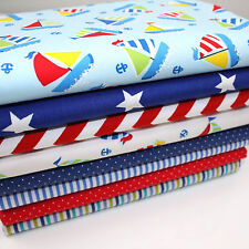 8 x FQ BUNDLE - COLOURFUL BOATS - 100% COTTON FABRIC BOYS royal blue red white