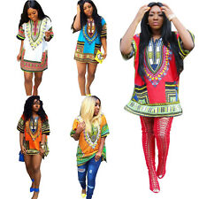 Fashion Women Traditional African Print Sexy Dashiki Short Sleeve Party Dress