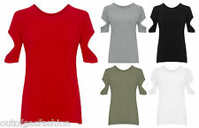 NEW LADIES CUT OUT SHORT SLEEVE T-SHIRT COLD SHOULDER TOP