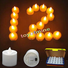 LED Battery Flickering Flashing Flameless Amber Yellow Tea Light Candle