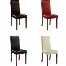 Dining Chair Brompton In Black Brown Cream Or Red In Set Of 2 Faux Leather New