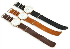 Leather Band Stainless Steel Sport Analog Quartz Women Mens Geneva Wrist Watch