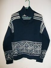 JANTZEN VTG Navy Blue Long Sleeve V-Neck Collared Knit Sweater Size M-M / W-L