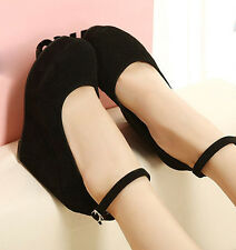 New Sexy Women's high heels Wdege platform Strap Pumps shoes Faux Suede Black