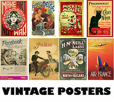 Choice of VINTAGE Posters NEW A3, A2, A1 Art Print Posters High Quality