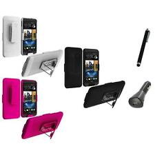 Color Hard Slide Snap-On Case Cover Holster Stand+Charger+Pen for HTC One M7