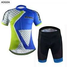 AOGDA Summer Bicycle Cycling Jersey Clothing Bike Cycling Top Bib Short Set Grid