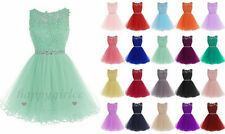 New Short Tulle Applique Bridesmaid Dress Wedding Dress Evening Party Prom 6-18+