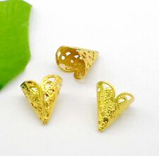 50/300Pcs Gold Plated Flower Beads Caps For Jewelry Making 16x11mm Free Ship