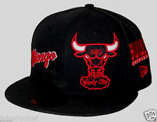 CHICAGO BULLS NBA TOTAL LOGO REDUX NEW ERA 59FIFTY BLACK FITTED HAT/CAP NWT