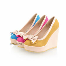 Women Lady Wedge Platform High Heels Bowknot Miss Pumps Causal Shoes Size Z268