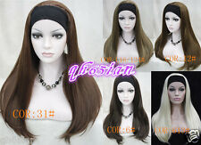 Lovely Ladies wig BLACK BLONDE BROWN MIX Long 3/4 Fall Wig Hairpiece Hair WIGS