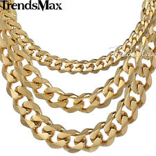 3/5/7/9/11mm Mens Chain Cuban Curb Gold Tone Stainless Steel Necklace Bracelet