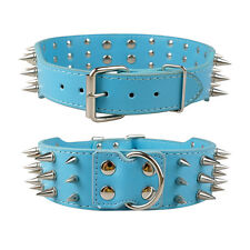 Spiked Studded Dog Collar 2inch Wide Leather Dog Collars Pitbull Terrier Bulldog