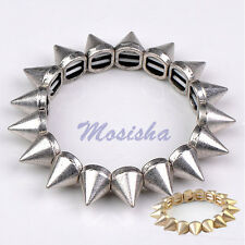 Gothic Punk Metallic Rivet Spike Stud Stretchy Bracelet Bangle Rock Gold/Silver