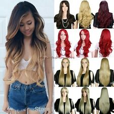 Thick Long Curly Straight Full Head Wig Ombre Cosplay Natural Top Quality Black