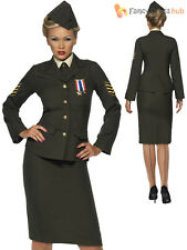 Ladies Wartime 1940 WW2 Army Officer Costume Adult Uniform Fancy Dress UK 8 - 26