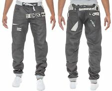 MENS DENIM JEANS EZ343 CUFFED JOGGERS IN GREY COATED COLOUR ALL SIZES 28 TO 48