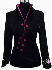 Charming Chinese Women's silk embroidery jacket coat Black Sz: 8 10 12 14 16 16