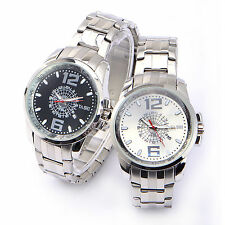 Fashion Mens Watch Analogue Stainless Steel Wristwatch Quartz Watch + Gift Box