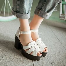 Summer Roman Sandals Womens Peep Toes Platform Block High Heel Ankle Strap Shoes