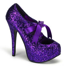 Bordello TEEZE-10G Purple Glitter Platform Pump