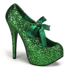 Bordello TEEZE-10G Green Glitter Platform Pump