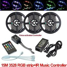 5M 10M 15M 3528 RGB LED Strip Lights Tape + Remote Music Controller IR + Power
