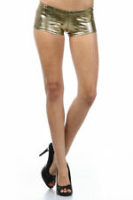 Shorts Sexy Gold Shiny Metallic Foil Snake Printed Stretch Club Booty Hot New S