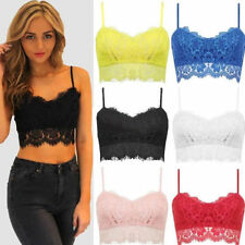 New Womens Lace Top Bralet Eyelash Vest Strappy Party Crop Bra Black