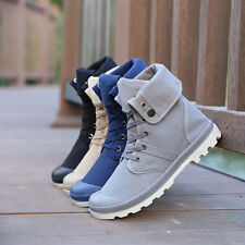 Spring Winter Men Casual High-top Canvas Shoes Lace-up Snow Warm Boots Booties