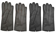 UNISEX CLASSIC GENUINE LEATHER DRIVING SOFT FIT WINTER GLOVES FLEECE LINED BUS