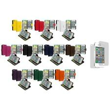 Wallet Leather Cover Case Pouch Card Slots+3X LCD Protector for iPhone 4 4S 4G