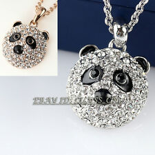 Fashion Black Glaze Rhinestone Cute Panda Necklace Pendant 18KGP Crystal