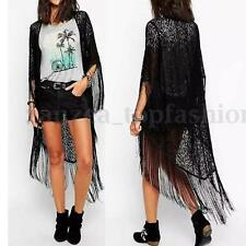 Lady Long Sleeve Sheer Tassel Hollow Out Lace Embroidered Kimono Cardigan Blouse