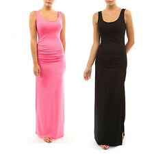 Sexy Women Sleeveless Bodycon Stretch Long Dress Slim Fit Pleated Vest Tank Maxi