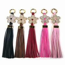 Leather Tassel Fringe Crystal Rhinestone Flower Bag Charm Accessory Key Ring New