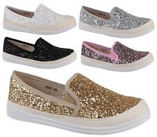 LADIES WOMENS COMFY SNEAKERS FASHION SKATER GLITTER TRAINERS PUMPS SHOES