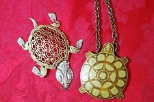 Beautiful Set of Two Vintage Metal Turtle Pendants Gold Silver Green Tone India