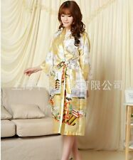 Chinese Women's silk Kimono Robe Gown nightrobe Yellow Sz: S M L XL XXL XXXL