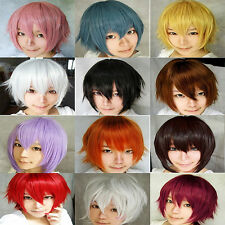 New Fashion Womens Mens Short Straight Wig Cosplay Party Hair Wigs  30cm 8colors