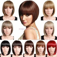 UK Lady BOB Short Full Head Wig Cosplay Party Daily Dress Heat Resistant Red T65