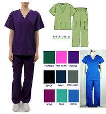Unisex Medical Nursing Scrub Sets Soft 6 Pockets Men/ Women's PRINTED SCRUB TOP