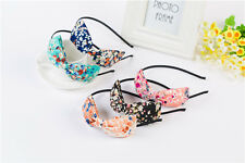 Skinny Thin Headband Floral Oversize Bow Tie Double Hair Band Vintage Rockabilly
