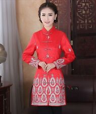 Charming Chinese Women's Silk jacket /coat Cheongsam Red Sz 8 10 12 14 16