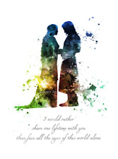 ART PRINT Aragorn and Arwen Quote, Lord of the Rings illustration, Wall Art