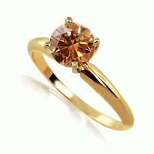 1 Carat Cognac Diamond Solitaire Engagement Ring 14k Yellow Gold