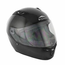 Stealth Motorcycle Bike DVS Full Face Carbon Fibre HD117 Track Racing Helmet